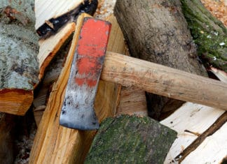 A splitting maul that has seen some heavy usage.